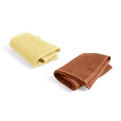 Torchon Waffle / Set de 3 - Hay jaune,terracotta en tissu