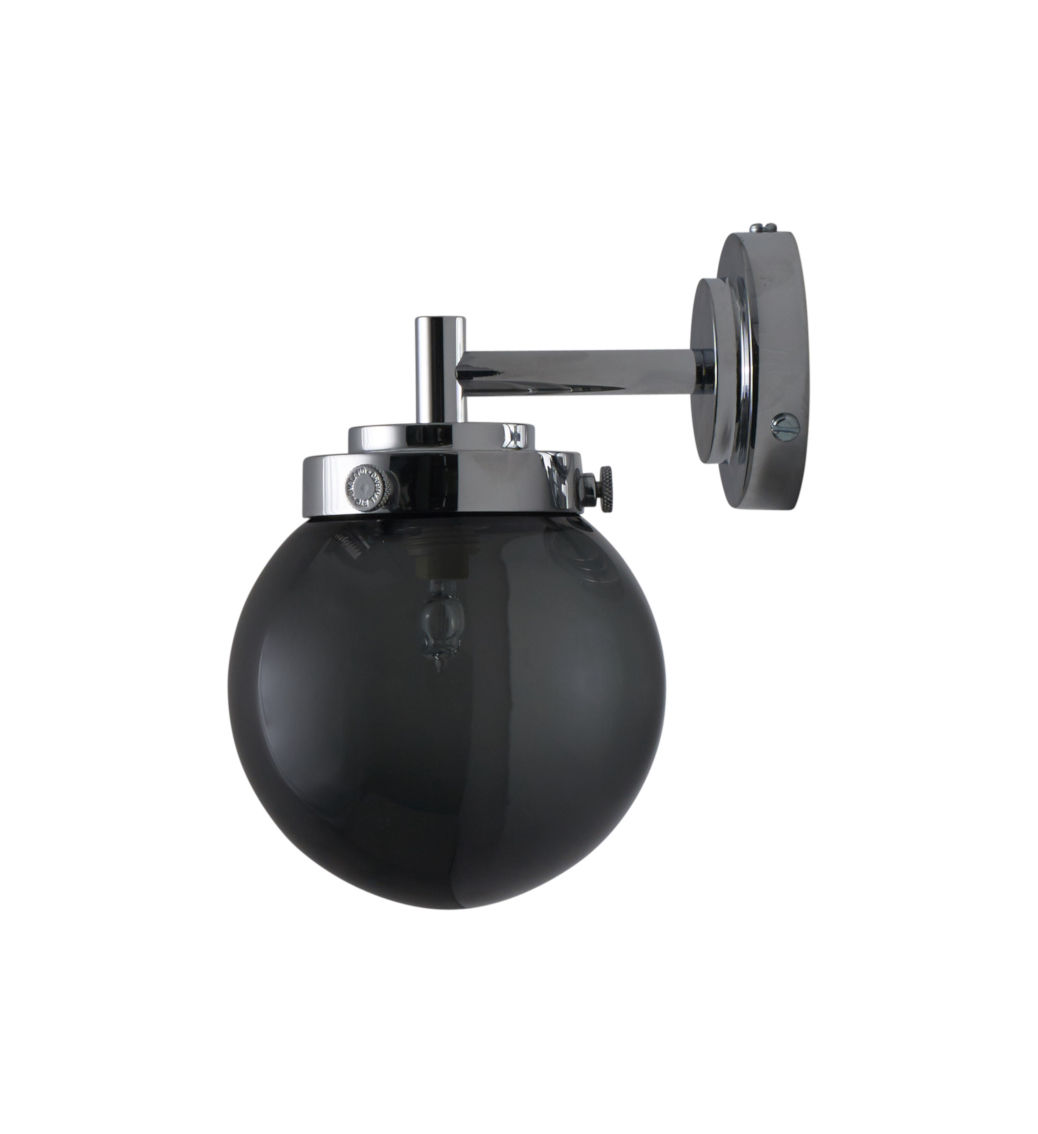 Lighting - Wall Lights - Mini Globe Wall light - / Ø 12 cm - Blown glass by Original BTC - Charcoal grey glass / Chromed - Blown glass, Polished oak