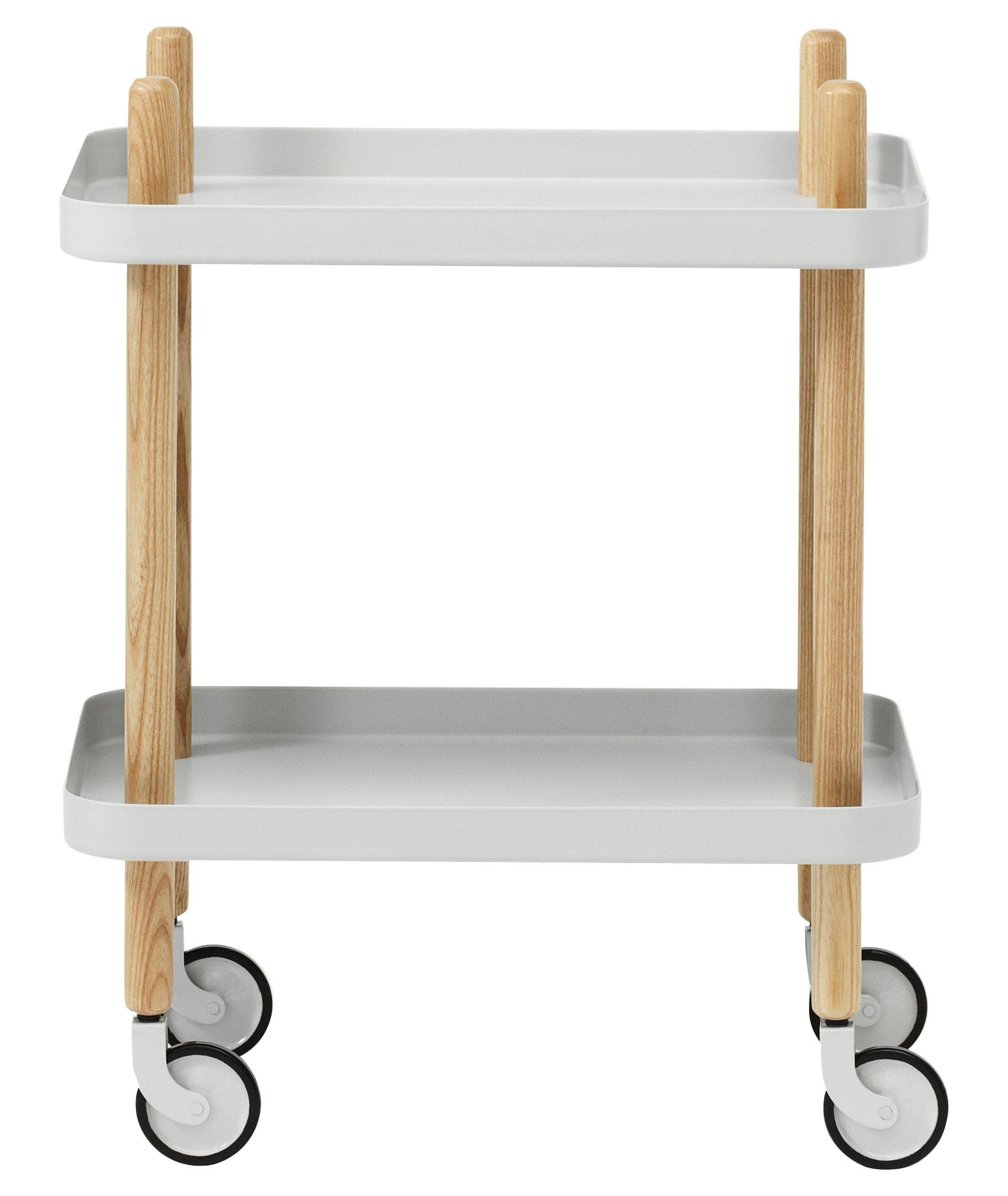 Möbel - Beistell-Möbel - Block Ablage / auf Rollen - Normann Copenhagen - Hellgrau - Esche, Stahl