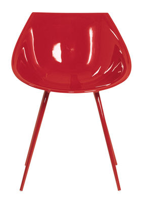 Furniture - Chairs - Lago Armchair - Lacquered polyurethan & metal legs by Driade - Red - Lacquered aluminium, Lacquered polyurethane