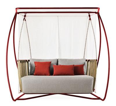 Balancelle Swing L 205 x H 193 cm Ethimo blanc,rouge,gris,teck décapé en tissu