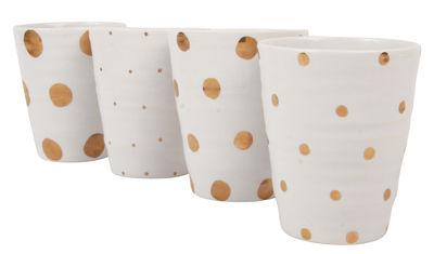 Tischkultur - Tassen und Becher - Dotted Becher / 4er-Set - & klevering - Goldene Punkte auf weißem Grund - Keramik