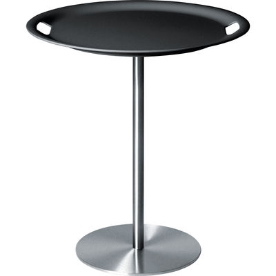 Möbel - Couchtische - Op-la Beistelltisch / Mit abnehmbarem Tablett - Alessi - Dunkelgrau und Edelstahl - Stahl