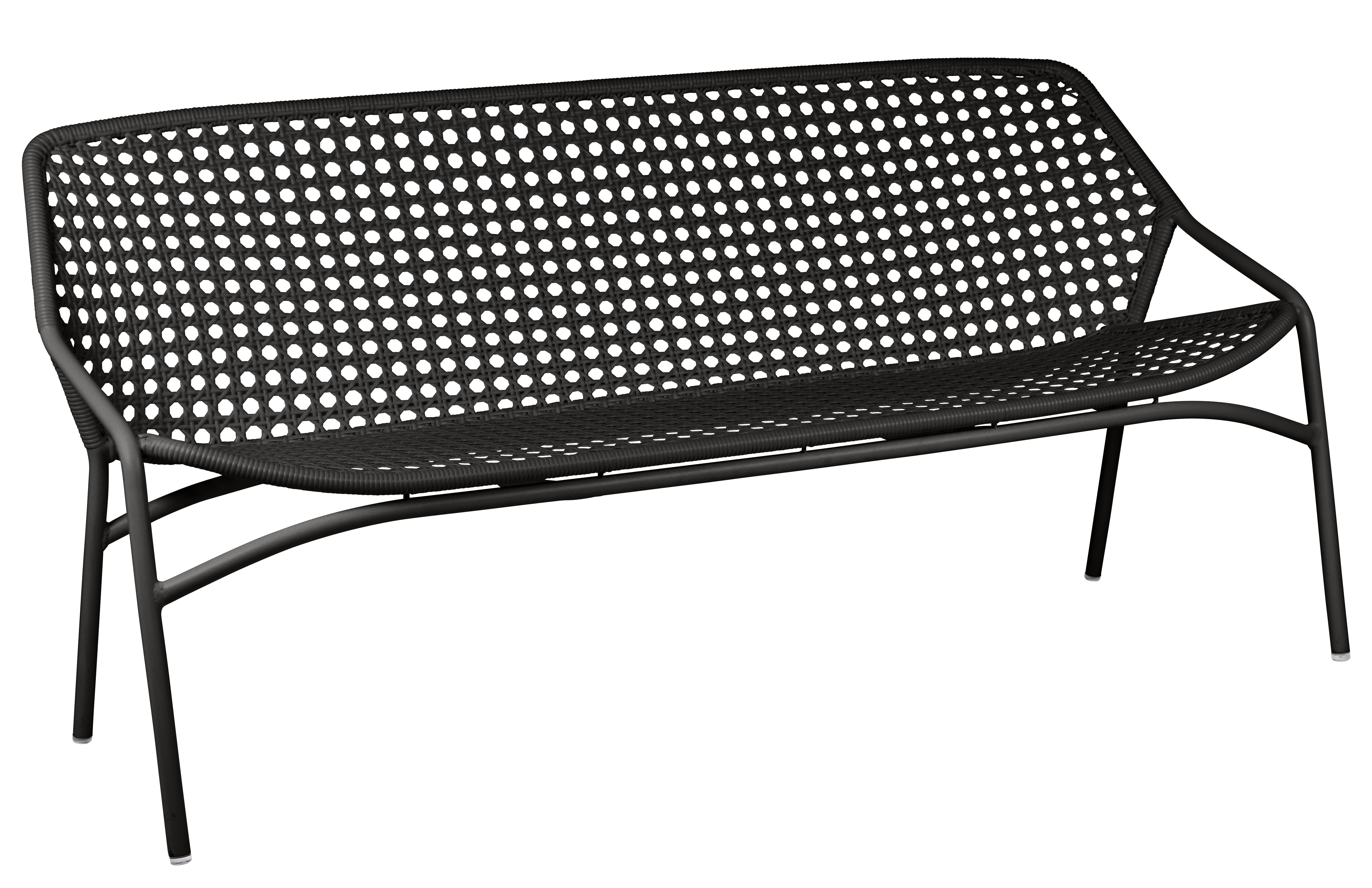 Outdoor - Sofas - Croisette XL Bench - 3 seats / L 177 cm - Woven plastic by Fermob - Licorice - Aluminium, Synthetic fibres