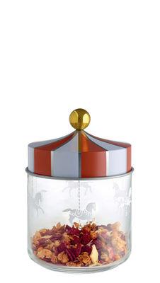 Cuisine - Boîtes, pots et bocaux - Bocal hermétique Circus / 75 cl - Verre & métal - Alessi - 75 cl / Rouge & blanc - Fer blanc, Verre sérigraphié