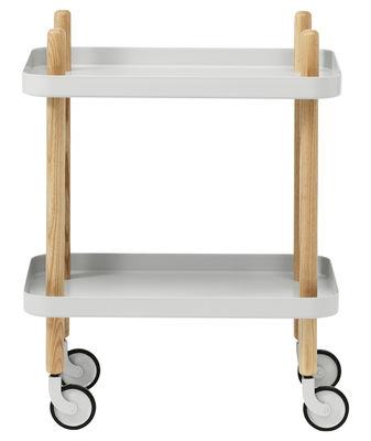 Arredamento - Complementi d'arredo - Carrello/tavolo d'appoggio Block - /Sur ruote di Normann Copenhagen - Grigio chiaro - Acciaio, Frassino