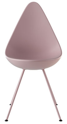 Furniture - Chairs - Drop Chair - / Plastic shell - Reissue 1958 by Fritz Hansen - Pink - ABS plastic, Lacquered steel, Nylon