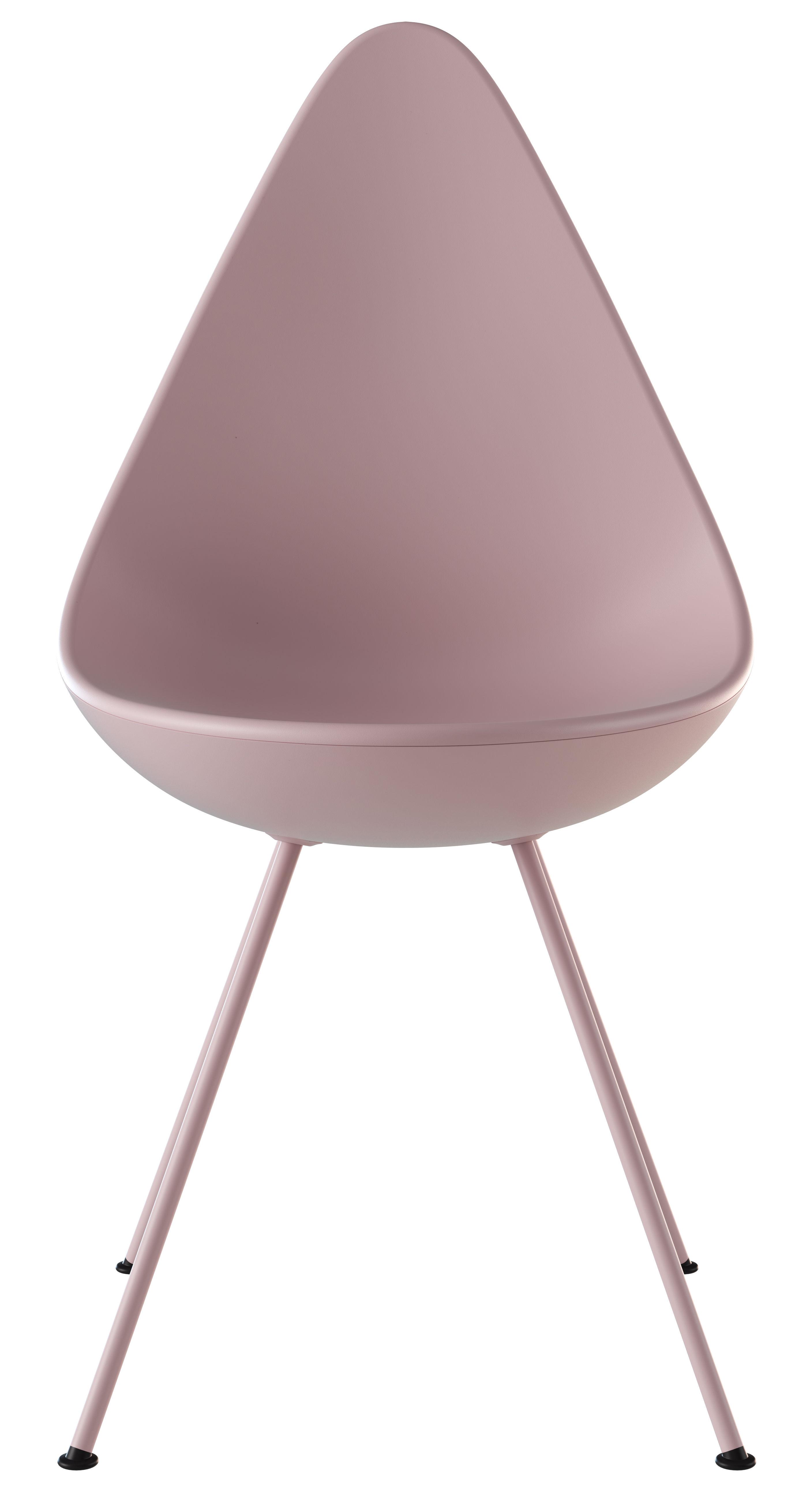 Mobilier - Chaises, fauteuils de salle à manger - Chaise Drop / Coque plastique - Réédition 1958 - Fritz Hansen - Rose - Acier laqué, Nylon, Plastique ABS