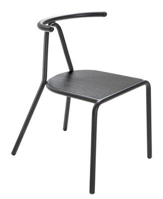 Chaise empilable Toro / Assise bois - B-LINE noir en métal