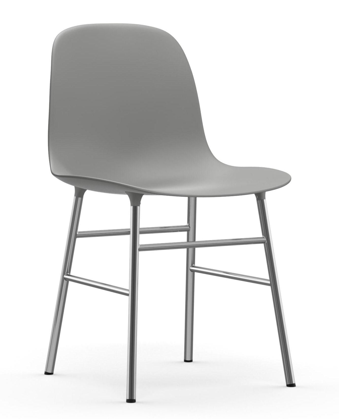 Mobilier - Chaises, fauteuils de salle à manger - Chaise Form / Pied chromé - Normann Copenhagen - Gris - Acier chromé, Polypropylène