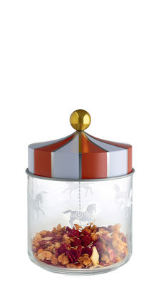 Cucina - Lattine, Pentole e Vasi - Barattolo ermetico Circus / 75 cl - Vetro & metallo - Alessi - 75 cl / Rosso & bianco - Ferro bianco, Vetro serigrafato