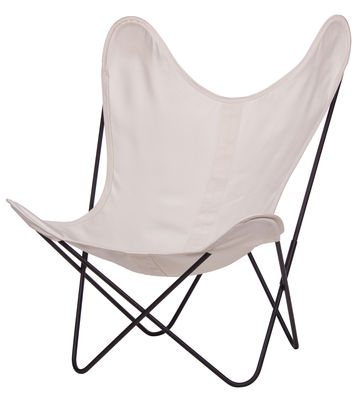 Chaise AA Butterfly OUTDOOR / Coton - Structure noire - AA-New Design blanc/beige en tissu