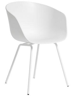 Mobilier - Chaises, fauteuils de salle à manger - Fauteuil About a chair AAC26 / Plastique & pieds métal - Hay - Blanc / Pieds métal blanc - Acier peint, Polypropylène