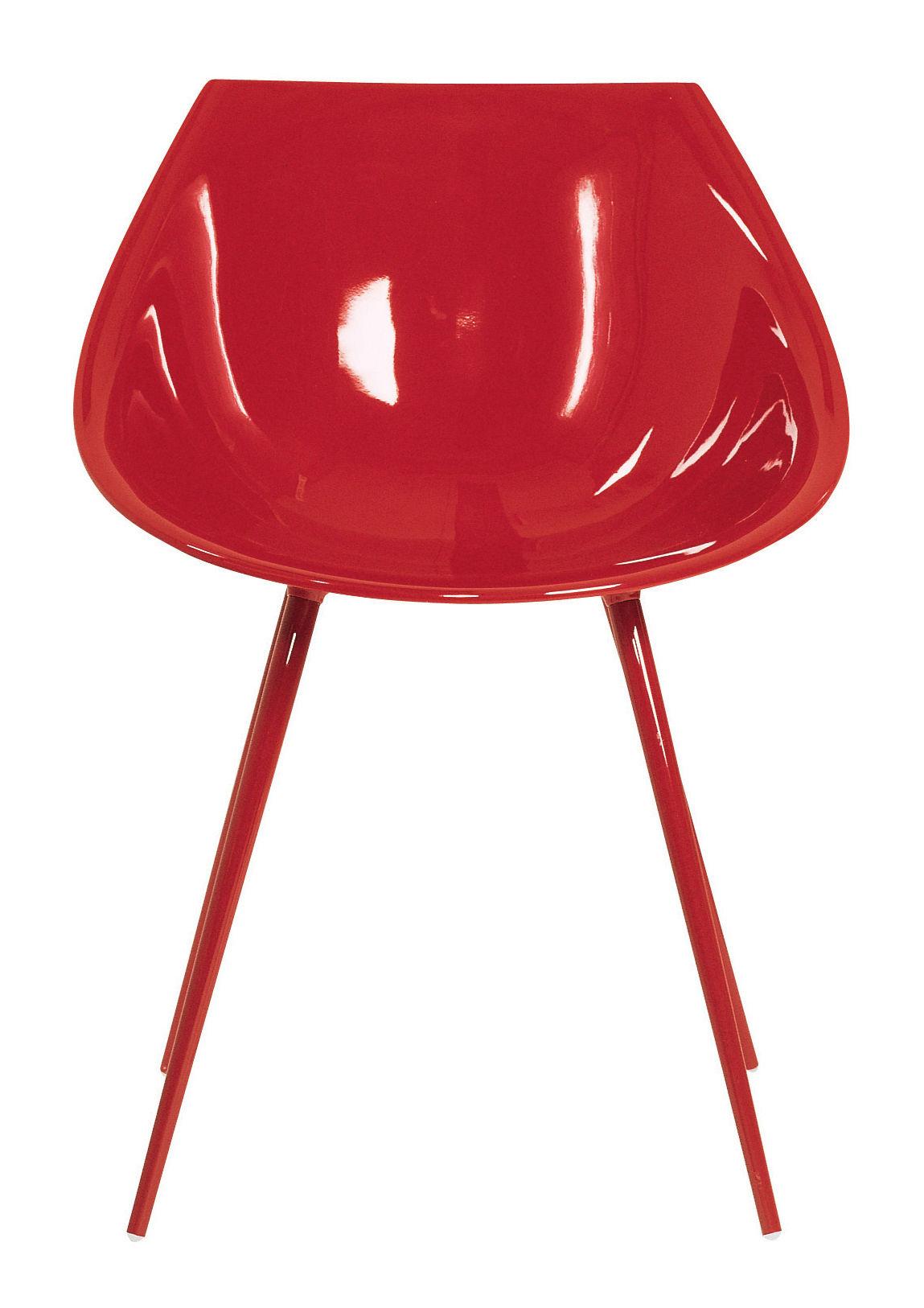 Mobilier - Chaises, fauteuils de salle à manger - Fauteuil Lago /Polyuréthane laqué & pieds métal - Driade - Rouge - Aluminium laqué, Polyuréthane laqué
