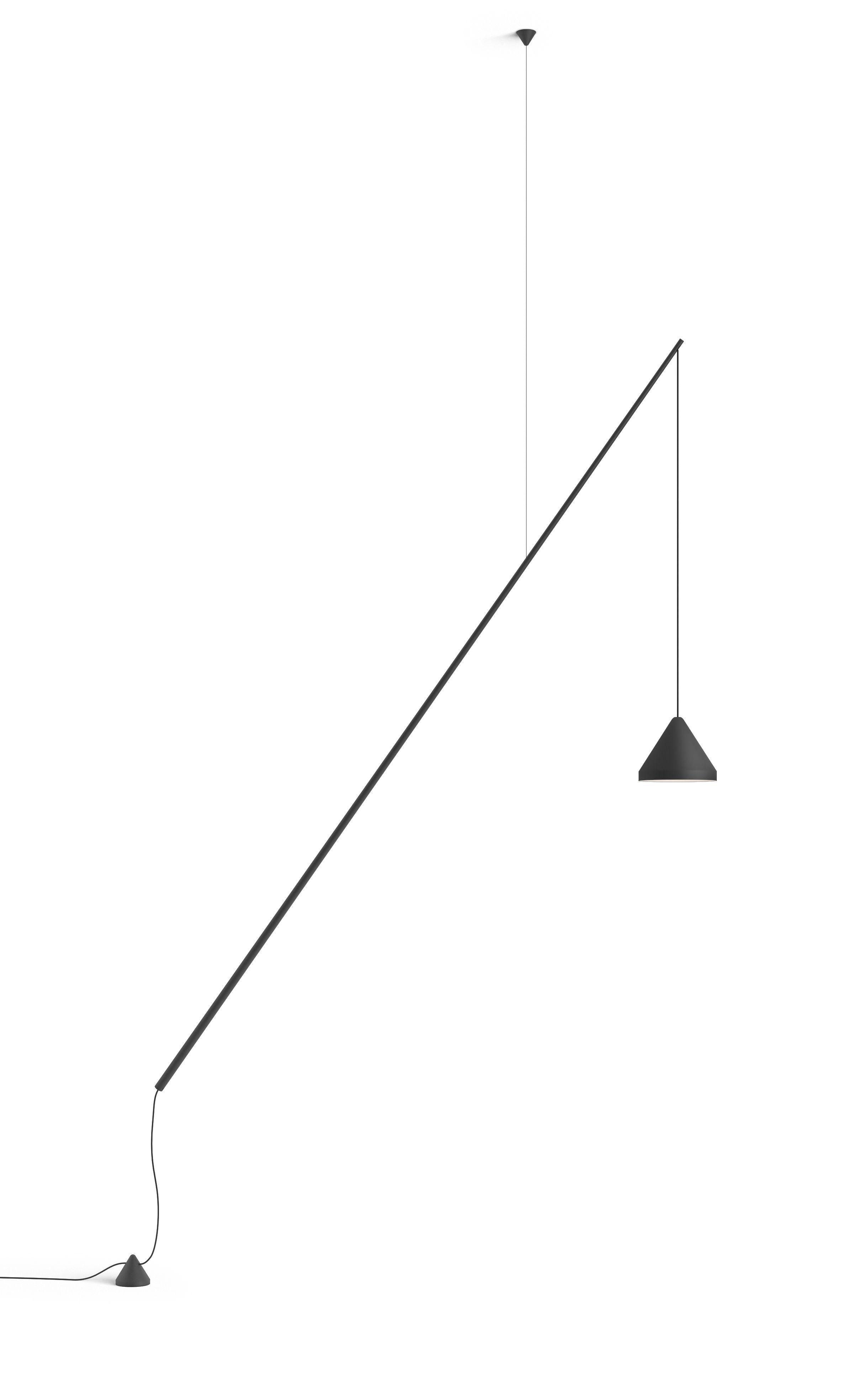 Illuminazione - Lampade da terra - Lampada a stelo North - / Sospesa & orientabile - LED di Vibia - Laccato grafite opaco - Alluminio, Fibra di carbonio, Metacrilato, PMMA
