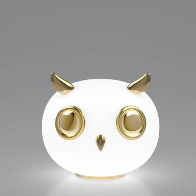 Lampe de table Uhuh Hibou / Céramique plaquée or & verre - Moooi or,blanc opalin en verre
