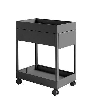 Furniture - Shelves & Storage Furniture - New Order Mobile container - / 1 drawer by Hay - Coal - Lacquered steel