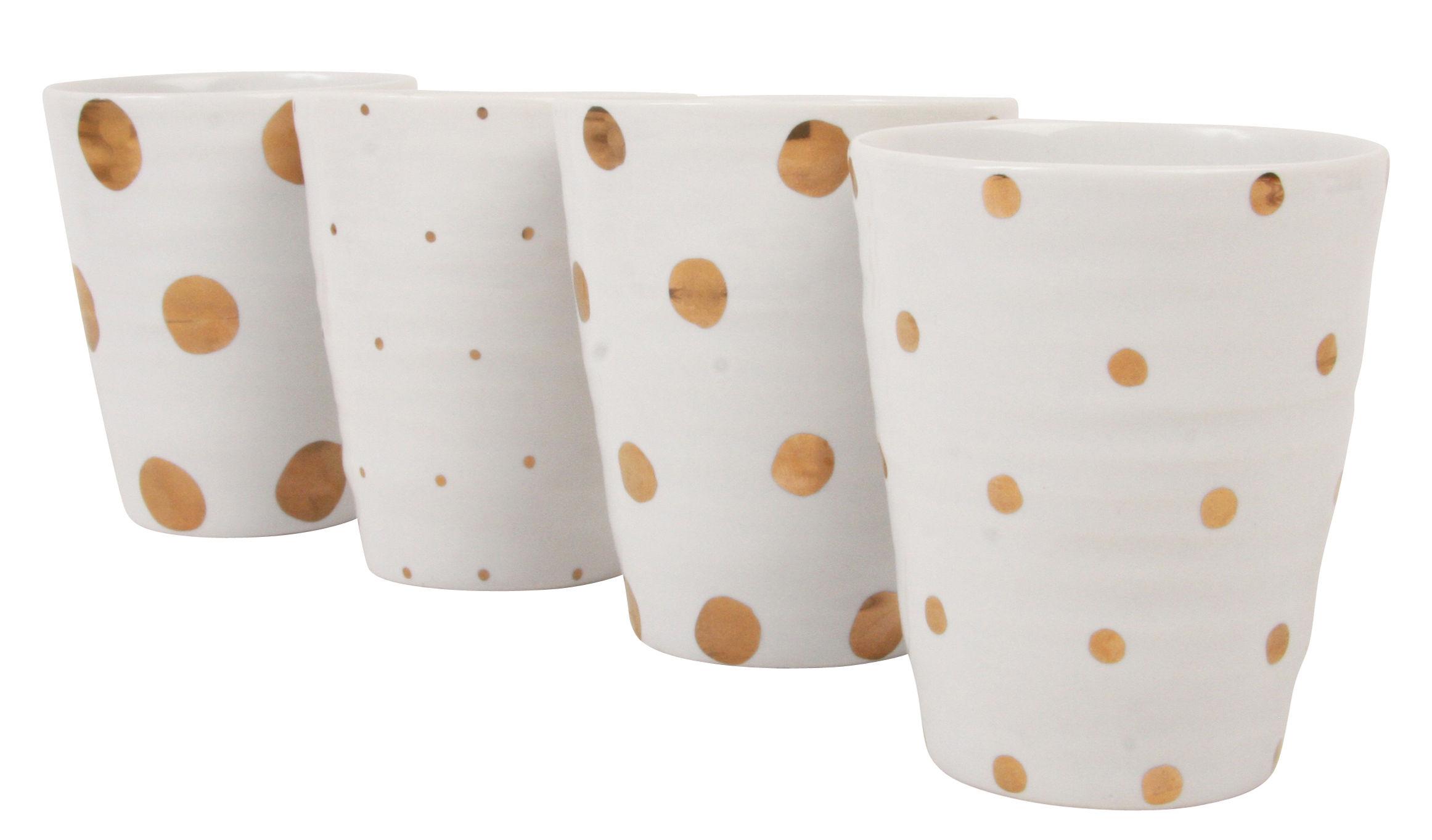 Arts de la table - Tasses et mugs - Mug Dotted / Set de 4 - & klevering - Blanc / Pois dorés - Céramique