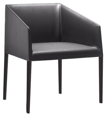 Furniture - Armchairs - Saari Padded armchair - Leather by Arper - Black - Foam, Imitation leather, Varnished steel