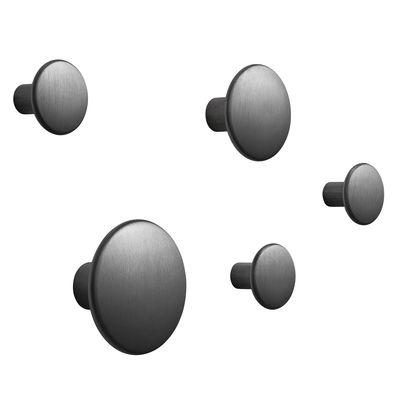 Patère The Dots Métal / Set de 5 - Muuto noir en métal