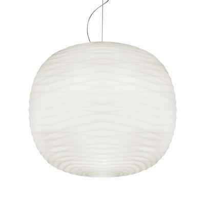 Lighting - Pendant Lighting - Gem LED My Light Pendant - / Blown glass - Bluetooth by Foscarini - White glass / Graphite ceiling rose - Satin blown glass