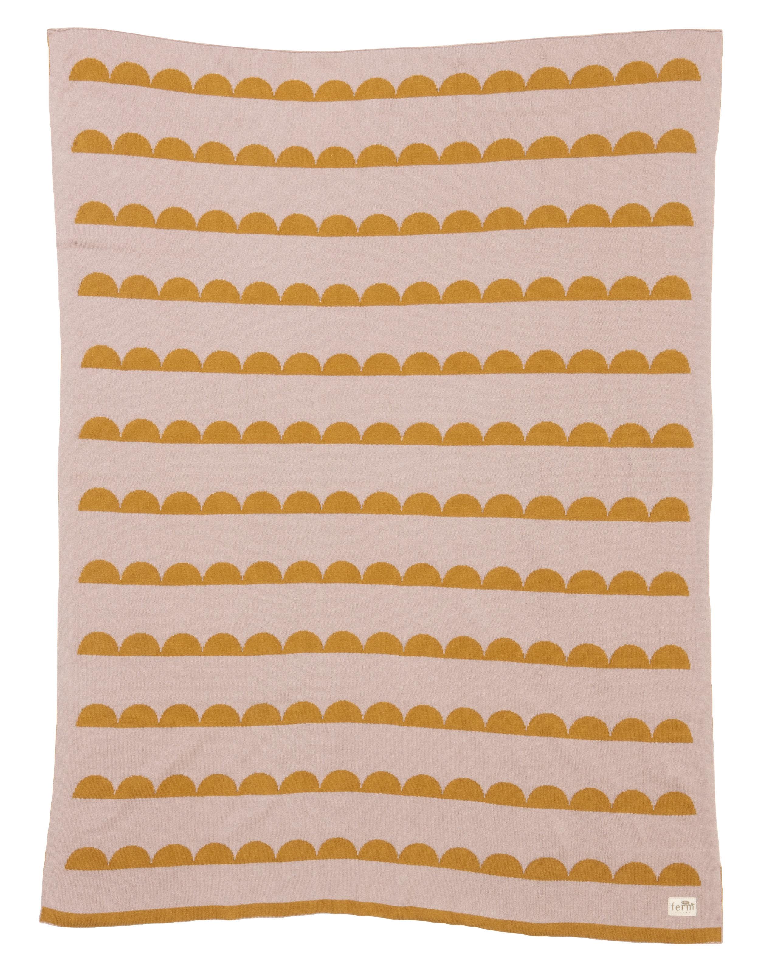 Interni - Per bambini - Plaid per bambini Little Half Moon - / 100 x 80 cm di Ferm Living - Giallo curry / Rosa - Cotone