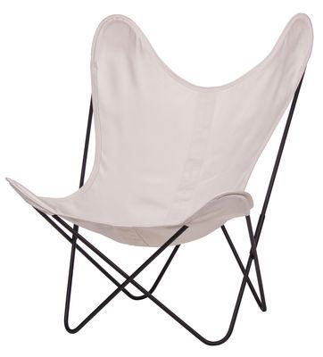 Arredamento - Poltrone design  - Poltrona AA Butterfly OUTDOOR di AA-New Design - Struttura nera/ Tela bianco beige - Acciaio termolaccato, Cotone trattato per uso esterno