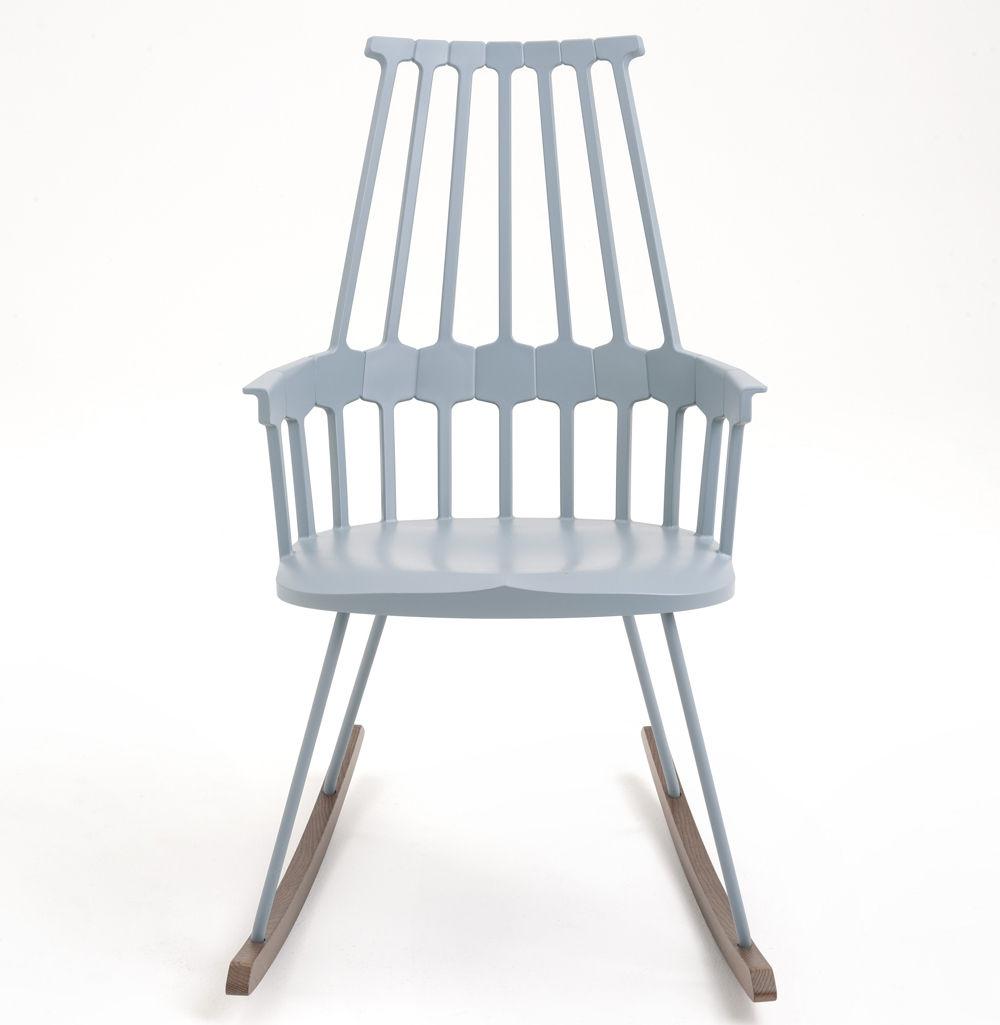 Scopri rocking chair comback sedia a dondolo grigio blu legno di kartell made in design italia - Sedia a dondolo design ...