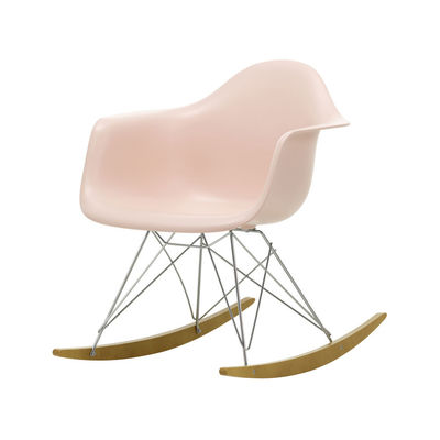 Furniture - Armchairs - RAR - Eames Plastic Armchair Rocking chair - / (1950) - Chromed legs & light wood by Vitra - Soft pink / Chrome / Light wood - Chromed steel, Polypropylene, Solid maple