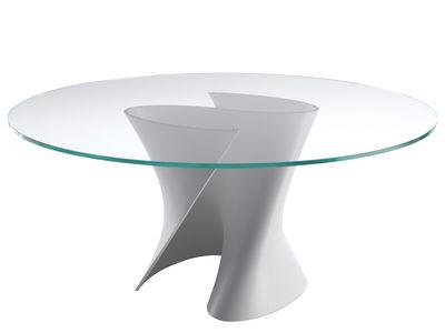Möbel - Tische - S Runder Tisch Ø 140 cm - MDF Italia - Glasplatte transparent - weiße Basis - Cristalplant, Glas