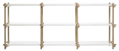 Image of Scaffale Woody - Larg 75,5 cm x h 85,5 cm di Hay - Bianco,Rovere naturale - Metallo
