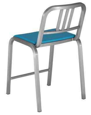 Arredamento - Sgabelli da bar  - Sedia da bar Nine-O - h 60 cm di Emeco - Alluminio opaco / Blu - Alluminio riciclato, Poliuretano