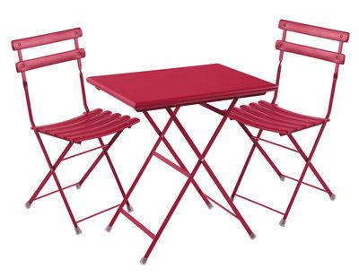 Jardin - Tables de jardin - Set table & assises Arc en Ciel / Table 70x50cm + 2 chaises - Emu - Rouge - Acier verni