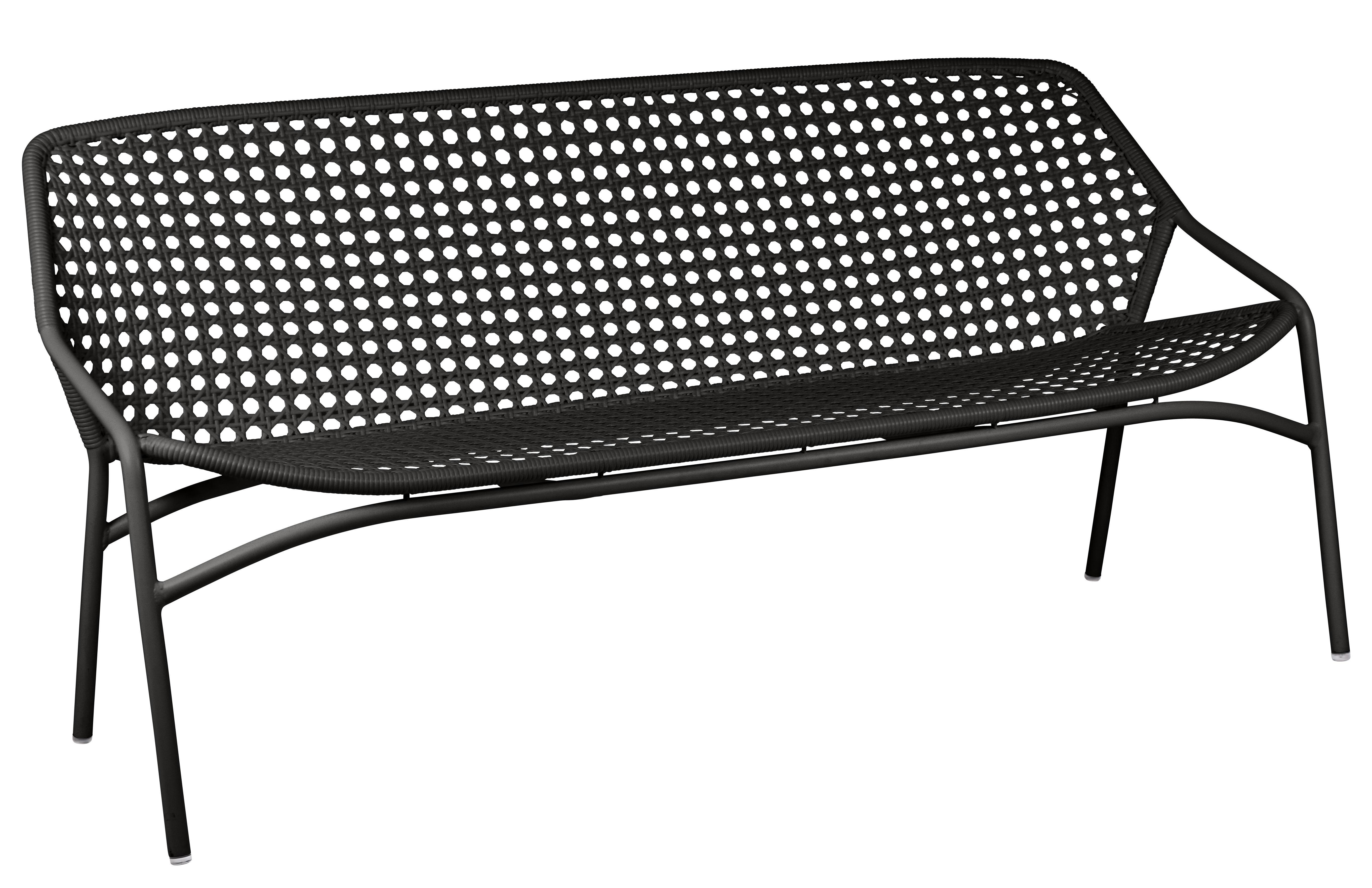Outdoor - Sofas und Lounge Sessel - Croisette XL Sofa für 3 Personen / L 177 cm - Kunststoff-Geflecht - Fermob - Lakritze -   Fibres synthétiques, Aluminium