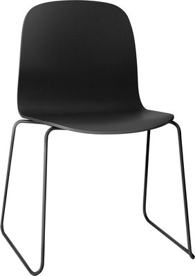 Furniture - Chairs - Visu Stacking chair - Wood / Sledge leg by Muuto - Wire base Black/Black - Painted steel, Varnished oak
