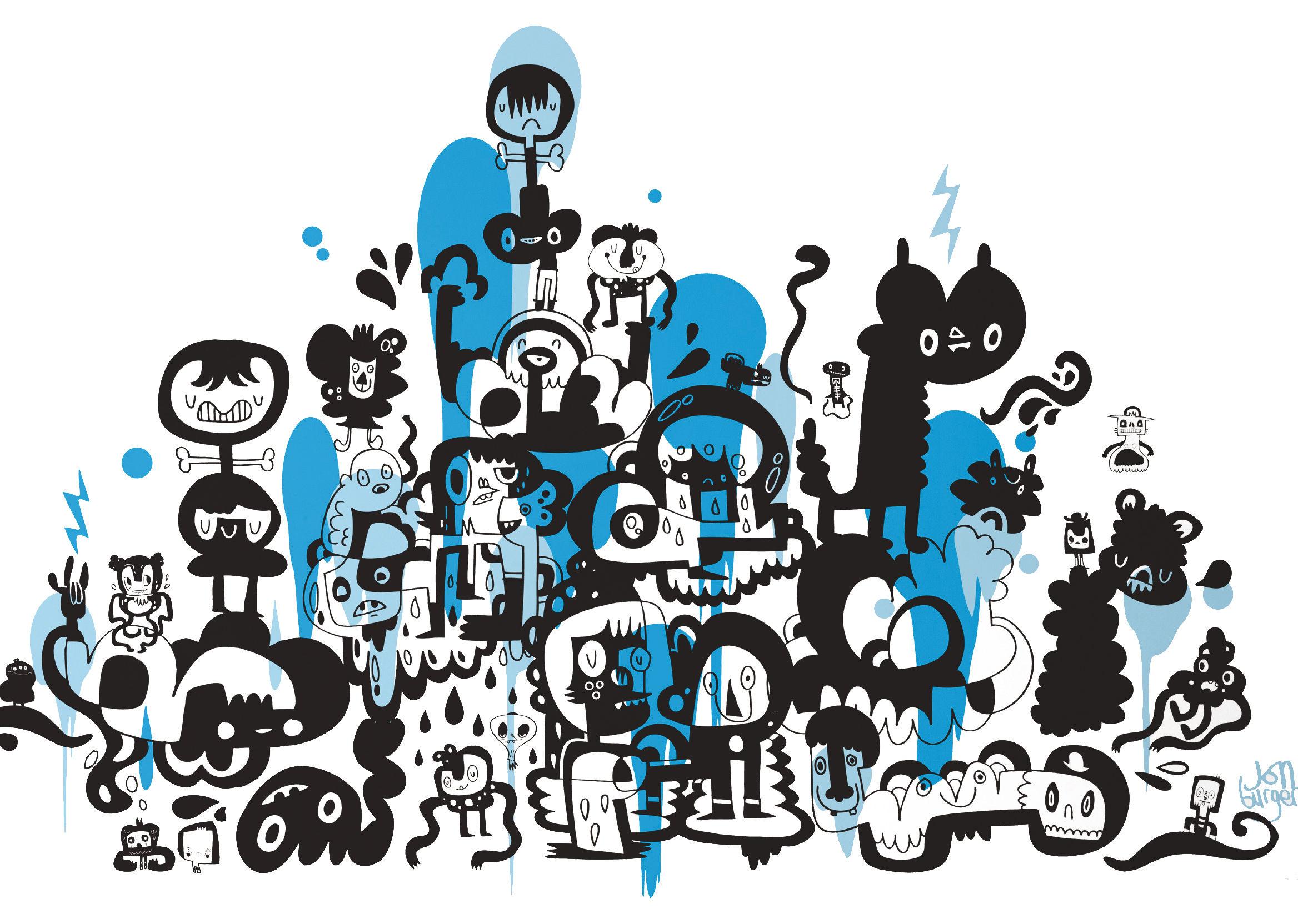 Dekoration - Stickers und Tapeten - Adventures on doodle-safari 2 Sticker - Domestic - Blau - Vinyl