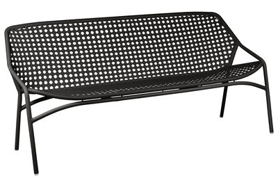 Outdoor - Sofas - Croisette XL Straight sofa - 3 seats / L 177 cm - Woven plastic by Fermob - Licorice - Aluminium, Synthetic fibres