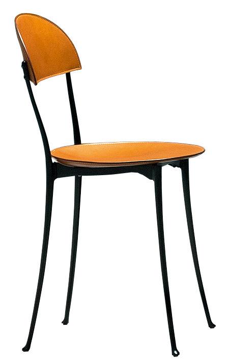 Möbel - Stühle  - Tonietta Stuhl von Enzo Mari / Neuauflage des Originals von 1985 - Zanotta - Schwarz lackiertes Aluminium / goldfarbenes Leder - Cuir sellier, Legierung aus poliertem Aluminium
