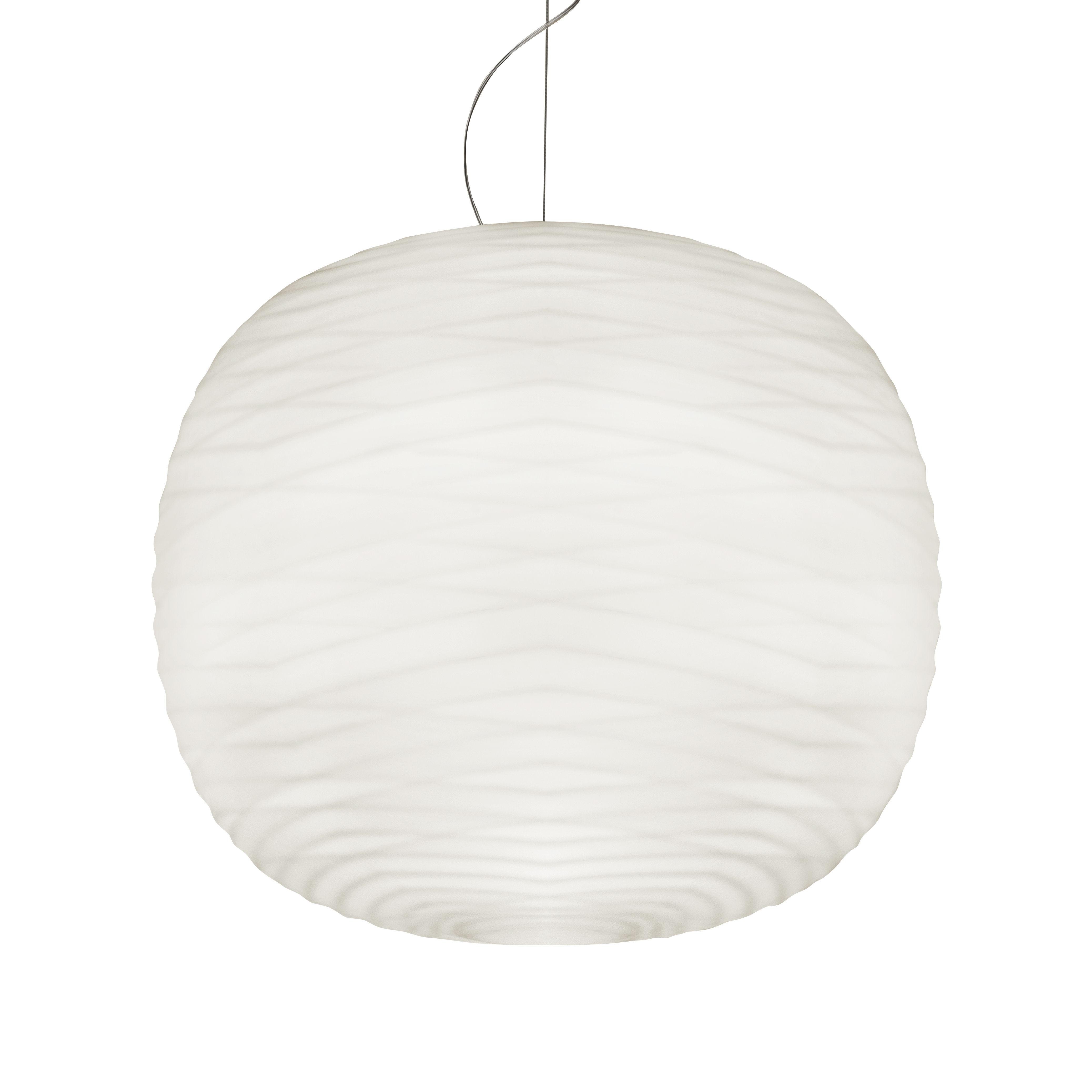 Luminaire - Suspensions - Suspension Gem LED My Light / Verre soufflé - Bluetooth - Foscarini - Verre blanc / Rosace gris graphite - Verre soufflé satiné