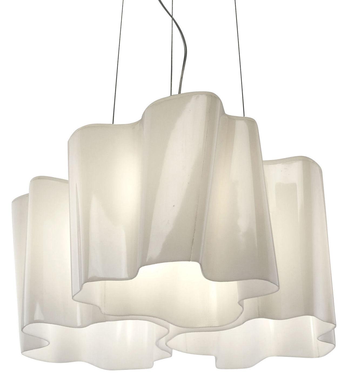 Luminaire - Suspensions - Suspension Logico grande 3 éléments x 120° - Artemide - Blanc - grande - Verre soufflé