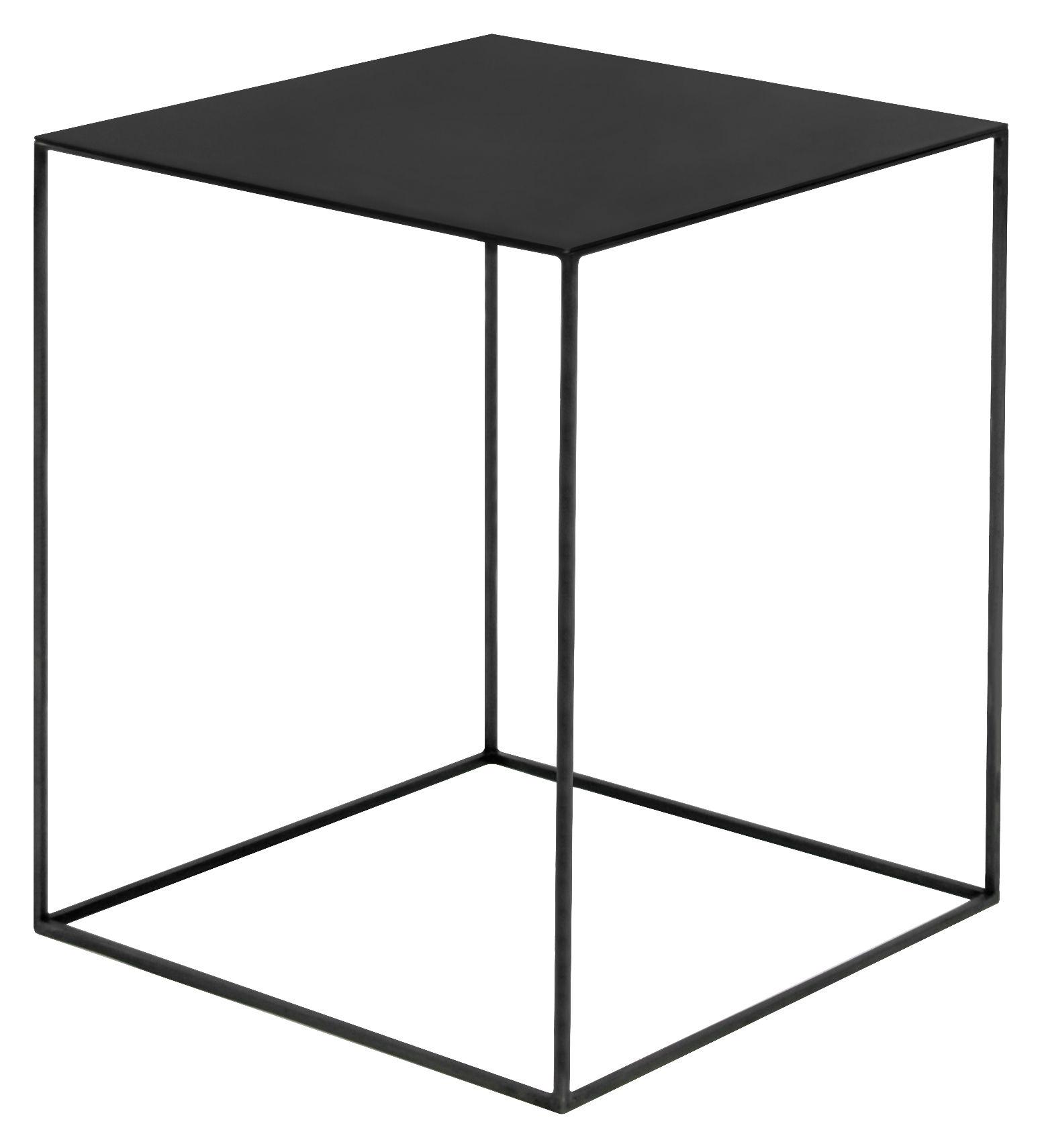Mobilier - Tables basses - Table basse Slim Irony / 41 x 41 x H 64 cm - Zeus - Plateau phosphaté noir / Pied noir cuivré - Acier