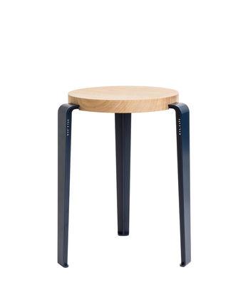 Mobilier - Tabourets bas - Tabouret empilable Lou / H 45 cm - Acier & chêne - TipToe - Bleu Minéral / Chêne - Acier thermolaqué, Chêne massif