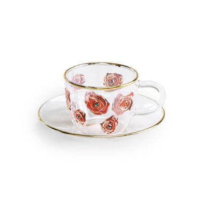 Tasse à café Toiletpaper - Roses - Seletti multicolore,or,transparent en verre