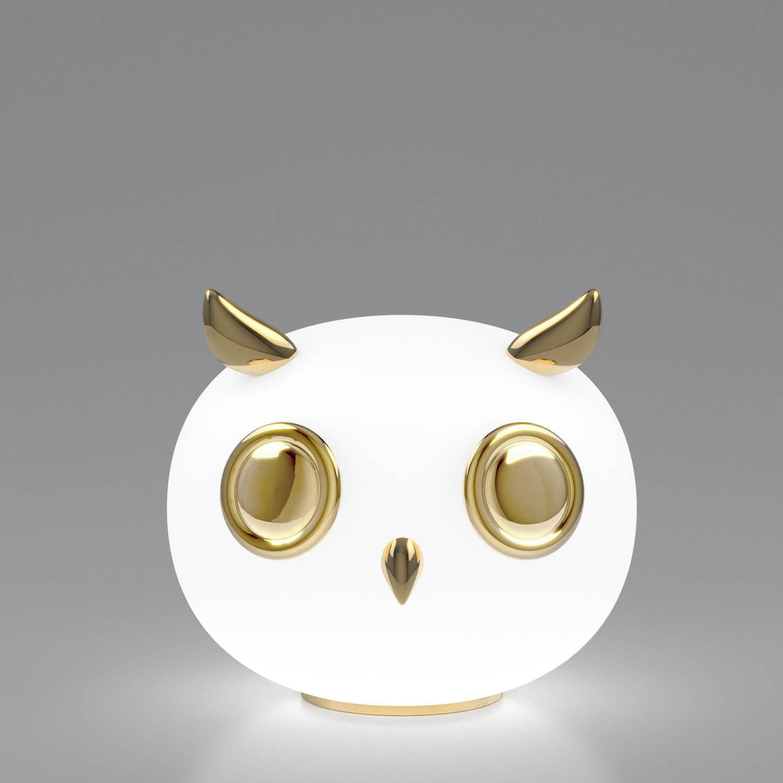 Dekoration - Für Kinder - Uhuh Hibou Tischleuchte / vergoldete Keramik & Glas - Moooi - Eule / weiß & golden - Céramique plaquée or, Verre dépoli