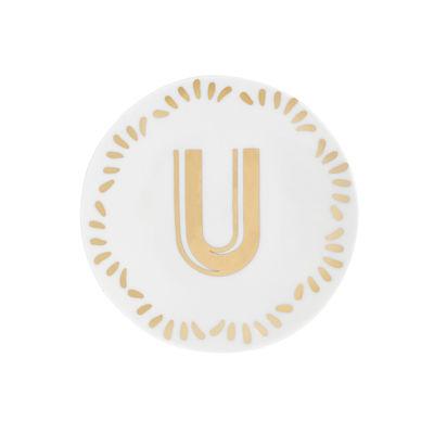 Arts de la table - Assiettes - Assiette à mignardises Lettering / Ø 12 cm - Lettre U - Bitossi Home - Lettre U / Or - Porcelaine