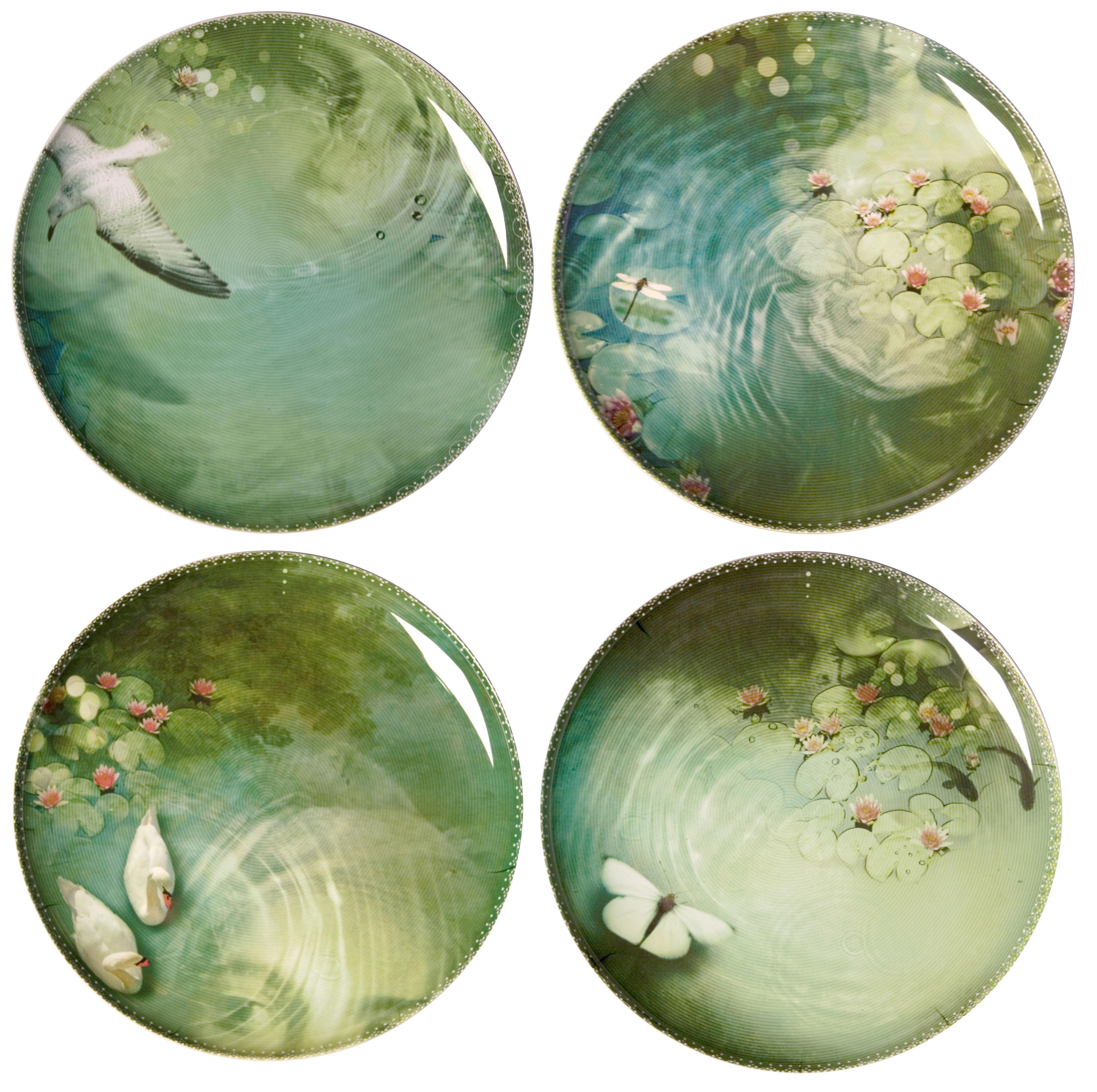 Arts de la table - Assiettes - Assiette Yuan / Set de 4 - Ibride - Noir/ Motifs verts (Yuan) - Mélamine