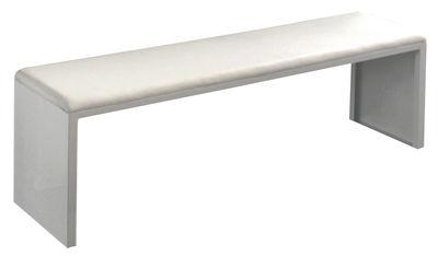 Banc Irony Pad / Assise cuir - L 210 cm - Zeus blanc en métal
