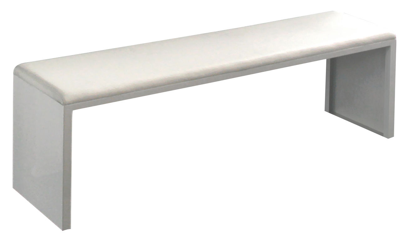 Furniture - Benches - Irony Pad Bench by Zeus - White - 210 x 36 cm - Leather, Painted steel