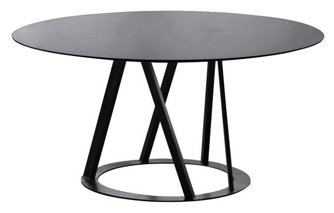 Tendances - Espace Repas - Table ronde Big Irony / Ø 147 cm - Zeus - Noir cuivré - Acier inoxydable peint epoxy