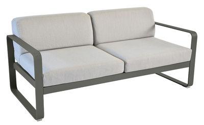 Mobilier - Canapés - Canapé droit Bellevie 2 places / L 160 cm - Tissu gris - Fermob - Romarin / Tissu gris flanelle - Aluminium laqué, Mousse, Tissu acrylique